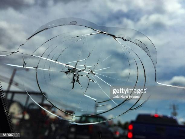 cracked windshield - windshield stock pictures, royalty-free photos & images
