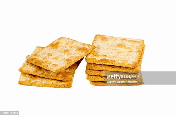 Cracker Biscuits Over White Background