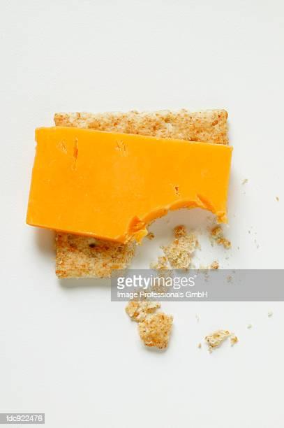 Cracker with Cheddar, a bite taken