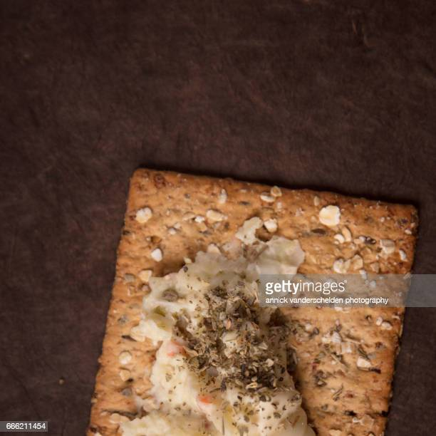 Cracker with Russian salad.