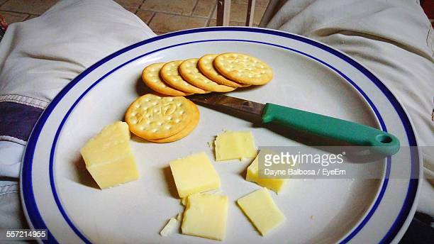 Crackers And Cheese In Plate