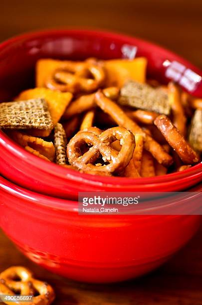 Crackers in red bowls