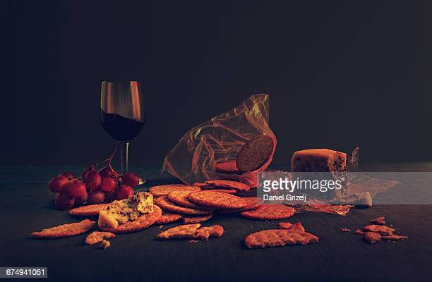Crackers with cheese and wine