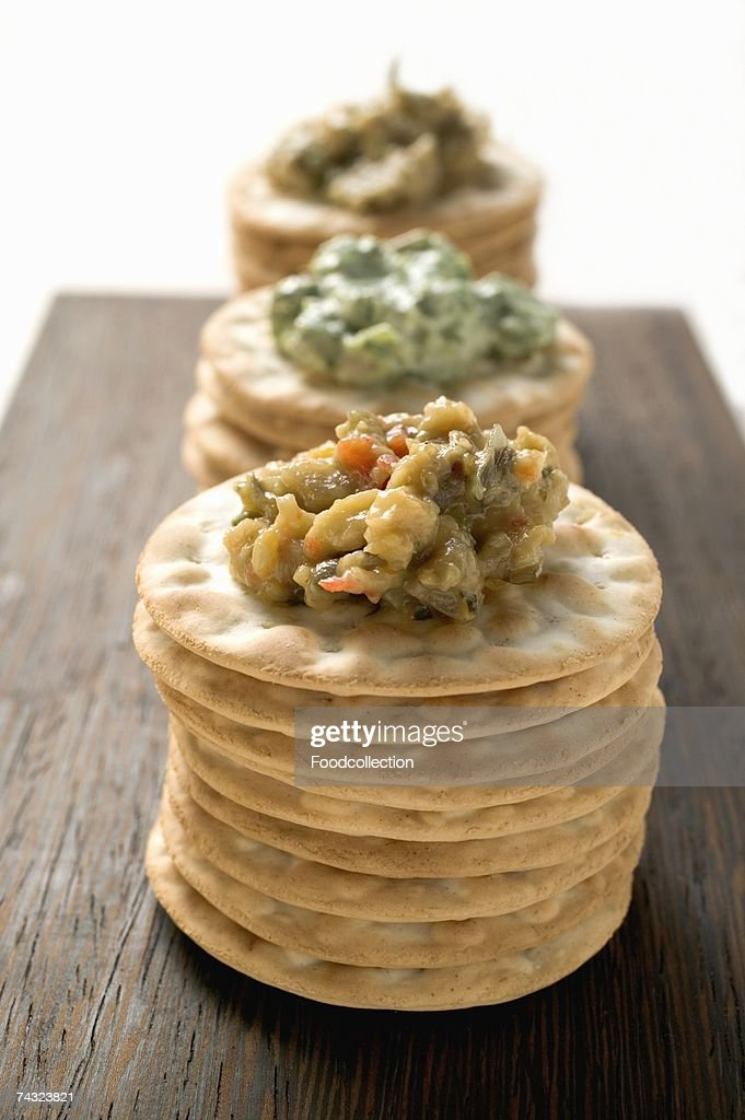 Crackers with three different spreads : Stock Photo