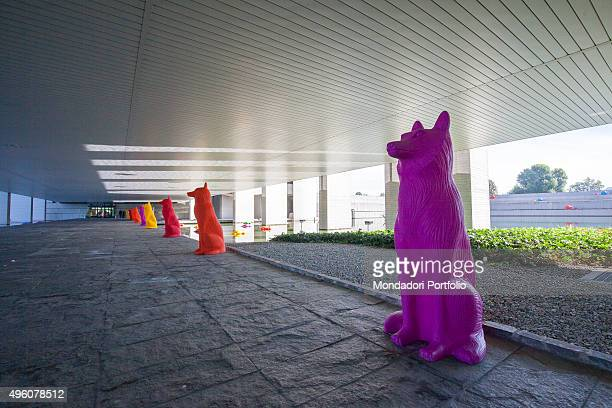 Cracking Art Group animals invade Mondadori Palace by Oscar Niemeyer Arnoldo Mondadori Editore headquarter Segrate September 2015