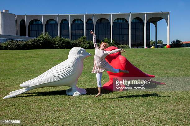 Cracking Art Group animals invade Mondadori Palace by Oscar Niemeyer Arnoldo Mondadori Editore headquarter Laura Sponziello performs creative dance...
