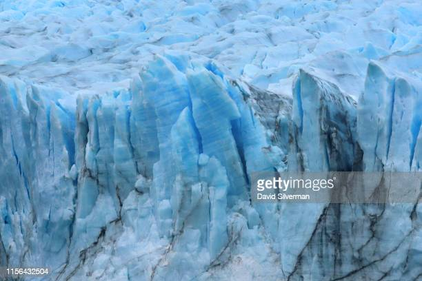 Cracks and crevices are seen in the face of the Perito Moreno glacier, part of the Southern Patagonian Ice Field, in the Los Glaciares National Park...