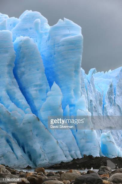 Cracks and crevices are seen in the face of the Perito Moreno glacier, part of the Southern Patagonian Ice Field, where it feeds into Lake Argentina...
