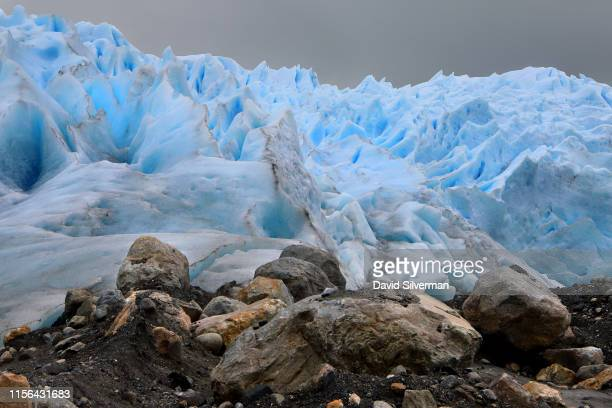 Cracks and crevices mark the Perito Moreno glacier, part of the Southern Patagonian Ice Field, where it feeds into Lake Argentina in the Los...