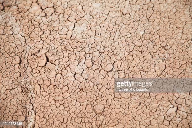 cracks on ground made with water scarcity - paisaje árido fotografías e imágenes de stock