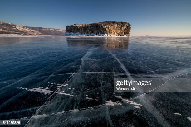 Cracks on icy Lake Baikal