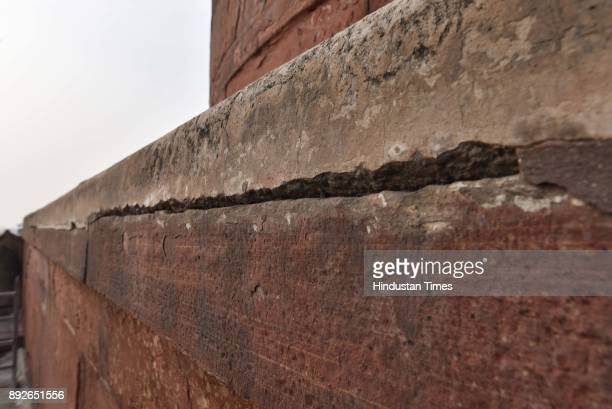 Cracks seen in Jama Masjid on December 13 2017 in New Delhi India The 17th century mosque built by Mughal emperor Shahjahan has started degenerating...
