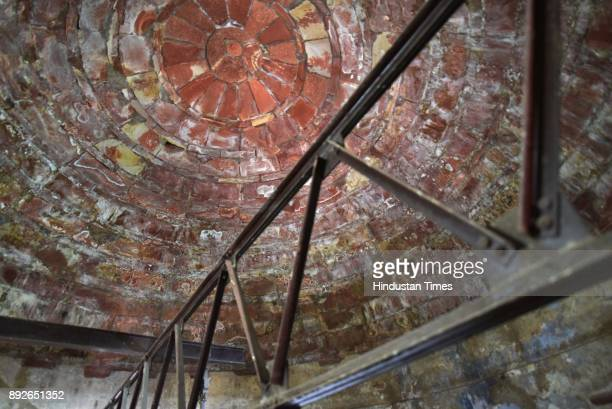 Cracks seen inside the Jama Masjid dome on December 13 2017 in New Delhi India The 17th century mosque built by Mughal emperor Shahjahan has started...