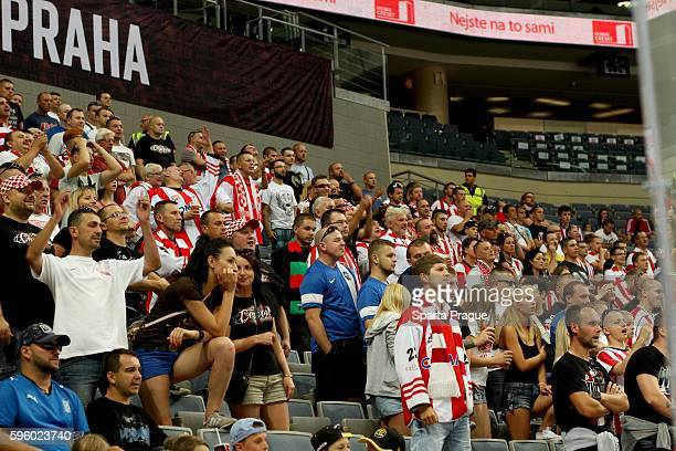 Cracovia fans during the Champions Hockey League match between Sparta Prague and Comarch Cracovia at o2 Arena Prague on August 26, 2016 in Prague,...