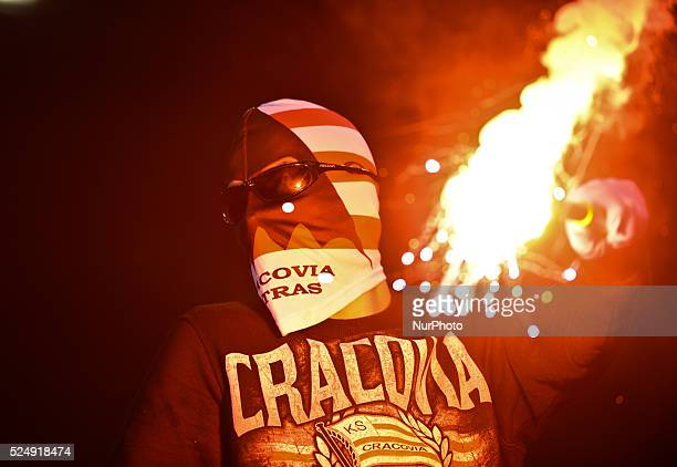 Cracovia's supporter during the derby match between Wisla Krakow and Cracovia Krakow a Polish Ekstraklasa league match at Reymont's Stadium in Krakow...