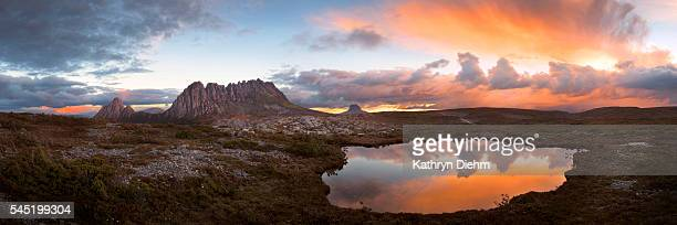 cradle mountain panorama at sunset