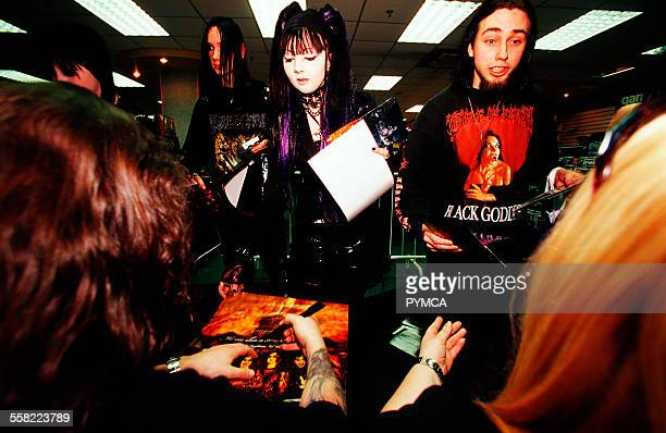 Cradle Of Filth fans looking starstruck at a record signing record shop Wolverhampton UK 2005