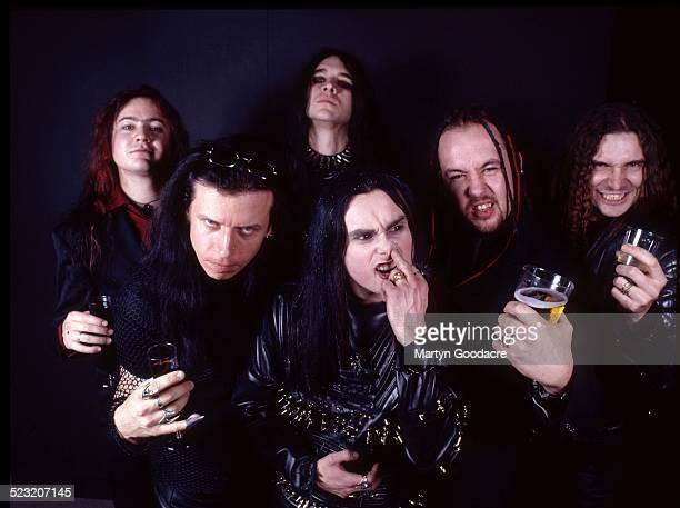 Cradle Of Filth group portrait London United Kingdom 2000 Vocalist Dani Filth is front centre