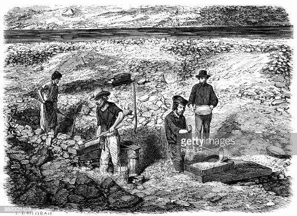Cradling for gold in the Californian gold fields Wood engraving published Paris 1849