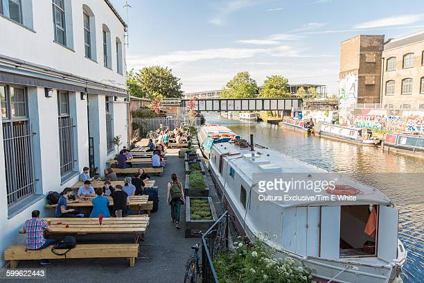 Craft beer pub by canal, Hackney Wick, London, UK