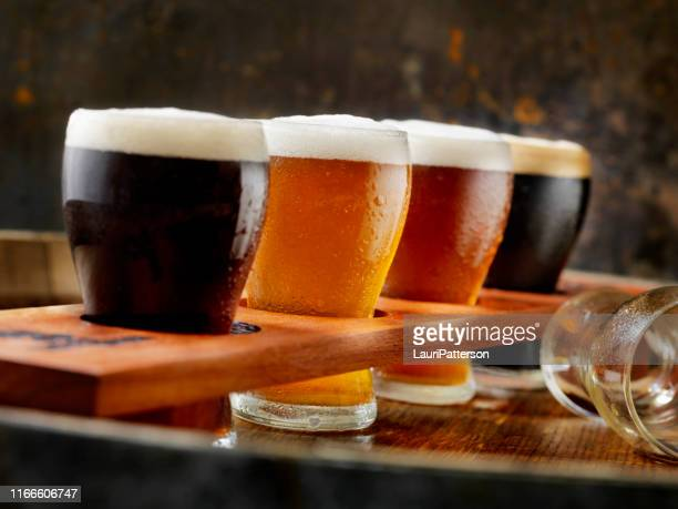 craft beer sampler tray - help:ipa stock pictures, royalty-free photos & images