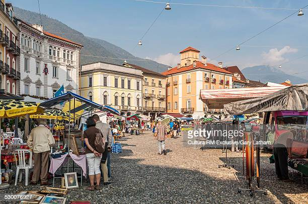 Craft market stalls, Piazza Grande, Locarno, Locarno District, Ticino, Switzerland