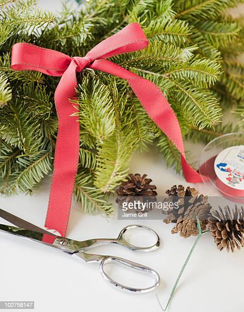 Craft supplies for Christmas wreath