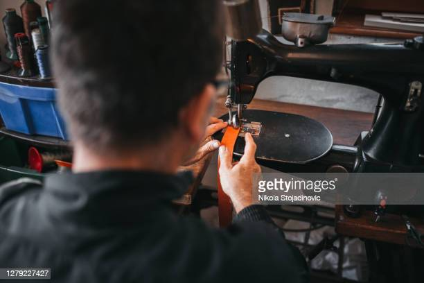 craft work and leather production - leather shoe stock pictures, royalty-free photos & images