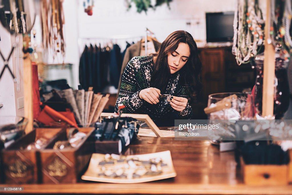 Crafting jewelry : Stock Photo