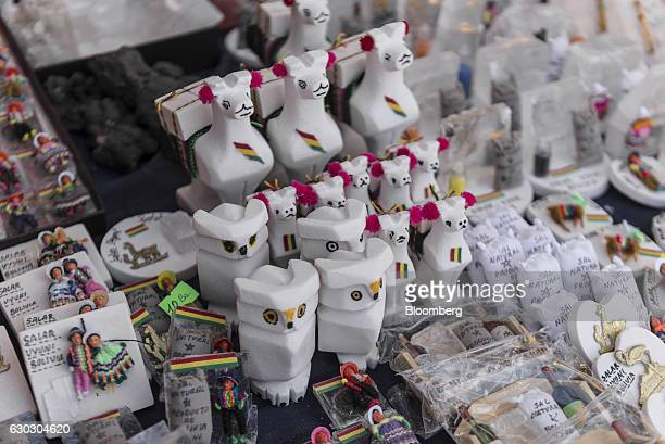 Crafts and products made from salt sit on display for sale at a store in the town of Colchani near the entrance of the Salar de Uyuni in Potosi...