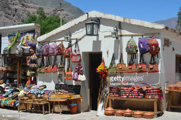 crafts in purmamarca, jujuy province, argentina - radicella stockfoto's en -beelden