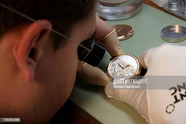 A craftsman at work on a Montblanc watch circa 2007