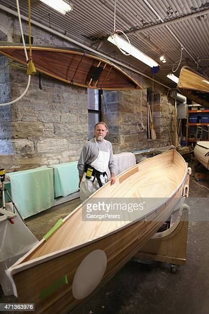 craftsman, canoe builder - george wood stock pictures, royalty-free photos & images