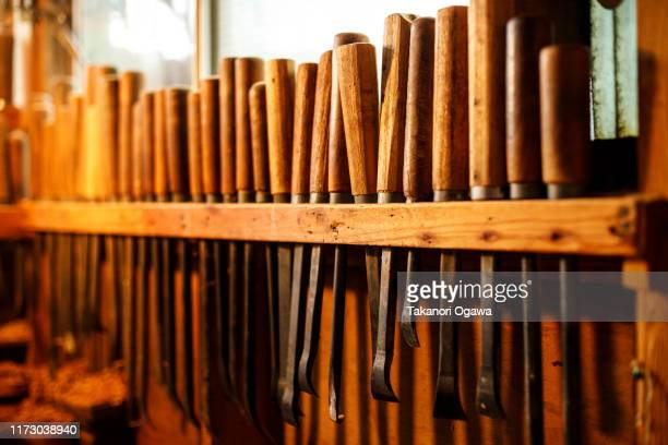 craftsman in wood , woodwork carpenter tool sawmill - carving craft product stock pictures, royalty-free photos & images