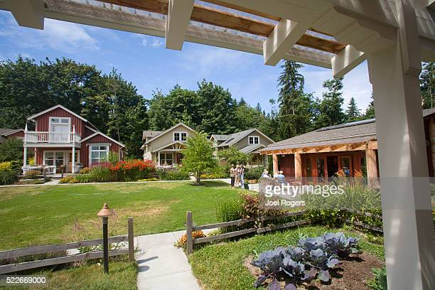 craftsman style cottages, conover commons, the cottage company, - joel rogers stock pictures, royalty-free photos & images