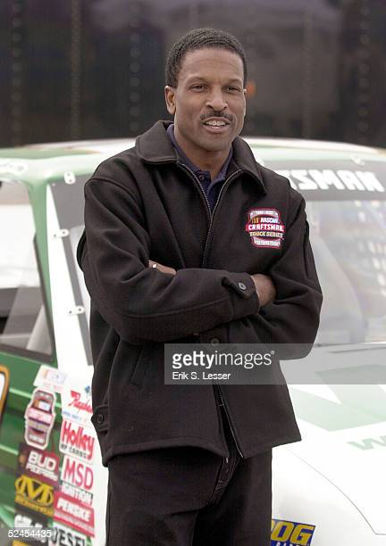 Craftsman Truck Series driver Bill Lester stands by his truck at the NASCAR Speedway Live event at the Shannon Mall March 19 2005 in Union City...