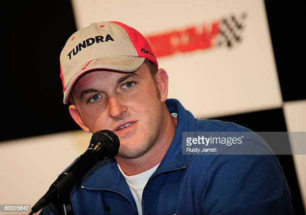 Craftsman Truck Series driver Dustin Skinner speaks with the media about making his first start at Martinsville Speedway during rain delayed practice...