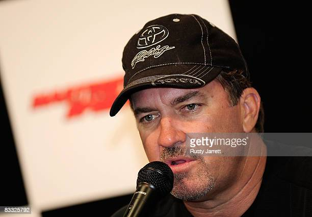 Craftsman Truck Series driver Mike Skinner speaks with the media about his son Dustin making his first start at Martinsville Speedway during rain...