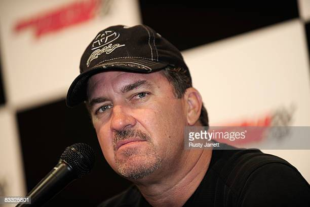 Craftsman Truck Series driver Mike Skinner speaks with the media about his son Dustin making his first start at Martinsville Speedway during a rain...