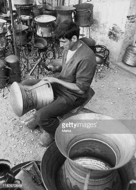 Craftsman who worked the copper guardiagrele abruzzo italy 1965