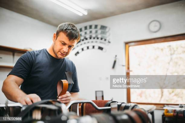 craftsman working in shop - sewing stock pictures, royalty-free photos & images