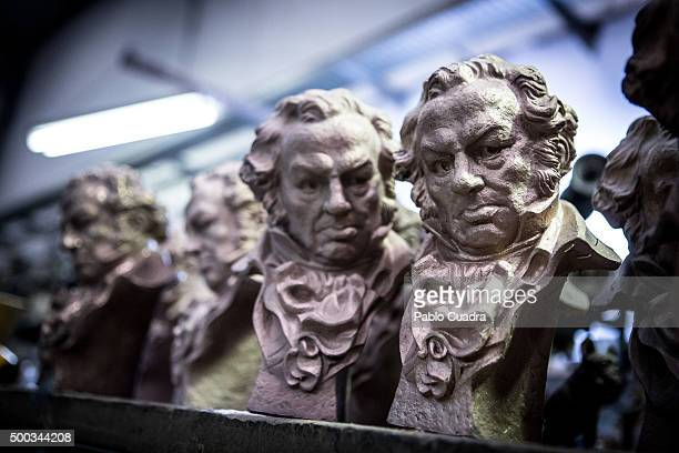 Craftsmen make the trophies for the 30th Goya Awards in preparation for the awards ceremony which takes place in February on December 7 2015 in...