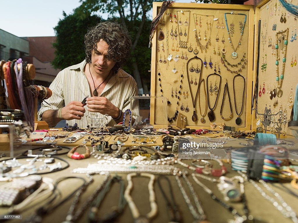 A craftsperson on the street : Stock Photo