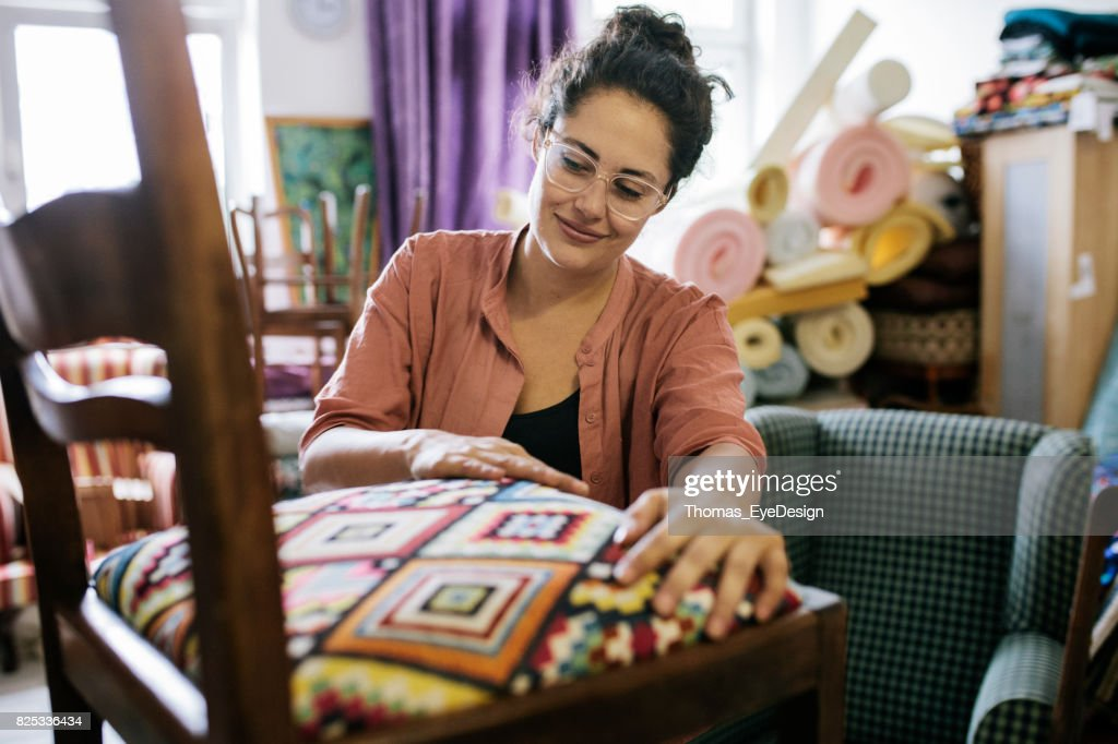 Craftswoman Pleased With Her Work : Stock Photo