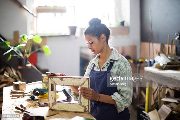 Craftswoman working in her workshop