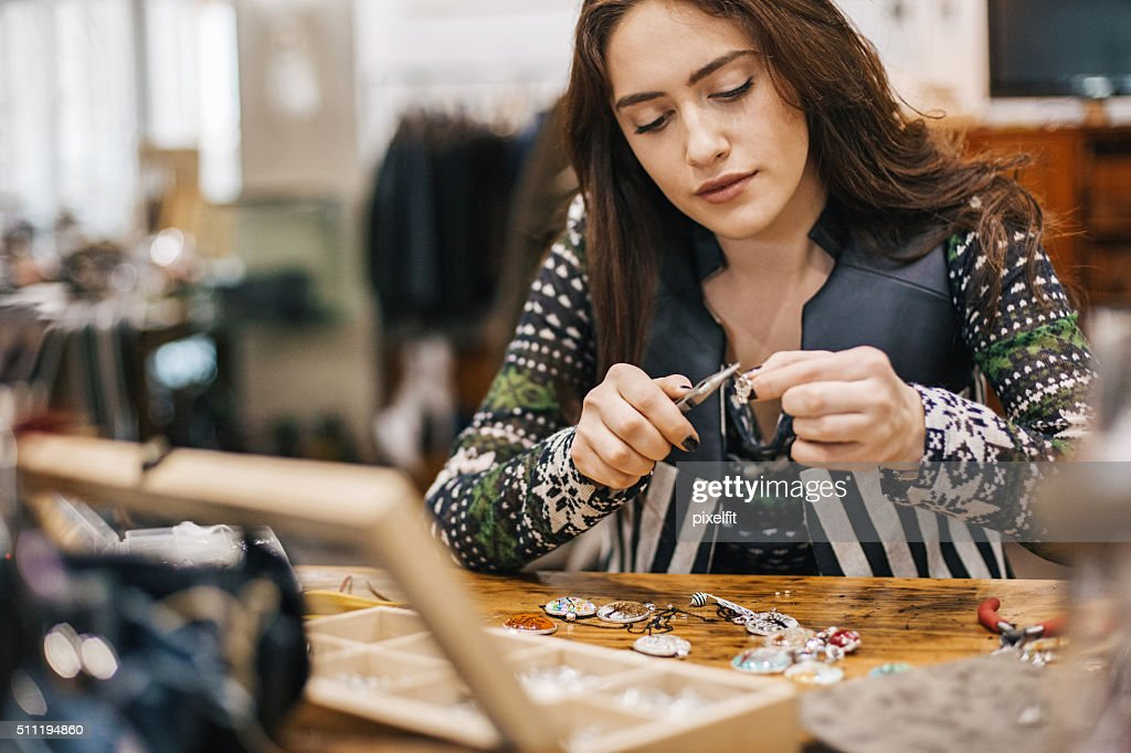 Crafty young woman : Stock Photo