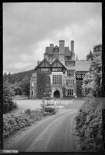 Cragside Rothbury Northumberland circa 1955c1980 An exterior view of the south elevation also the entrance front of Cragside taken from the drive to...