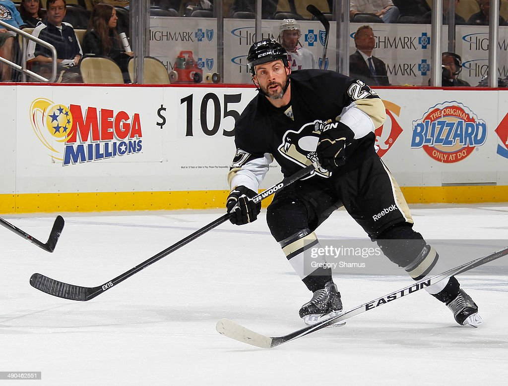 Craig Adams #27 of the Pittsburgh Penguins skates against the New York Rangers in Game Five of the Second Round of the 2014 Stanley Cup Playoffs at Consol Energy Center on May 9, 2014 in Pittsburgh, Pennsylvania.