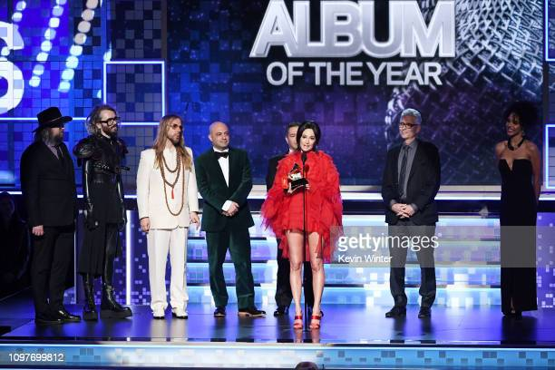 Craig Alvin Shawn Everett Ian Fitchuk Daniel Tashian Steve Fallone Kacey Musgraves and Greg Calbi accept the Album Of The Year award for 'Golden...