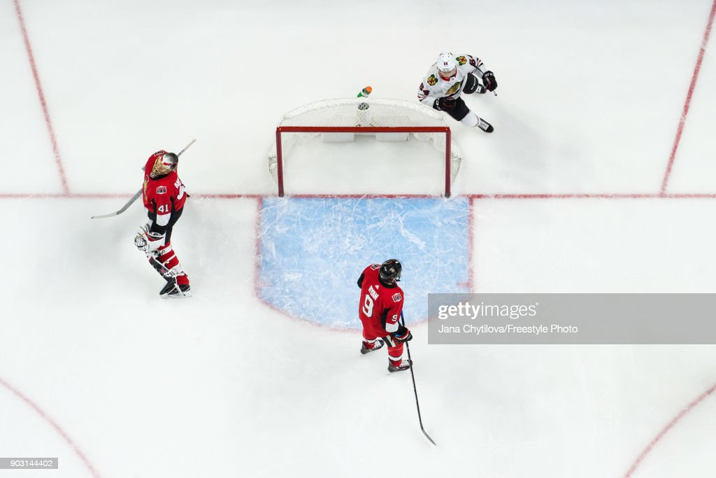 Craig Anderson #41 and Bobby Ryan #9 of the Ottawa Senators react after a second period goal by Patrick Sharp #10 of the Chicago Blackhawks (not pictured) as David Kampf #64 of the Chicago Blackhawks celebrates at Canadian Tire Centre on January 9, 2018 in Ottawa, Ontario, Canada.